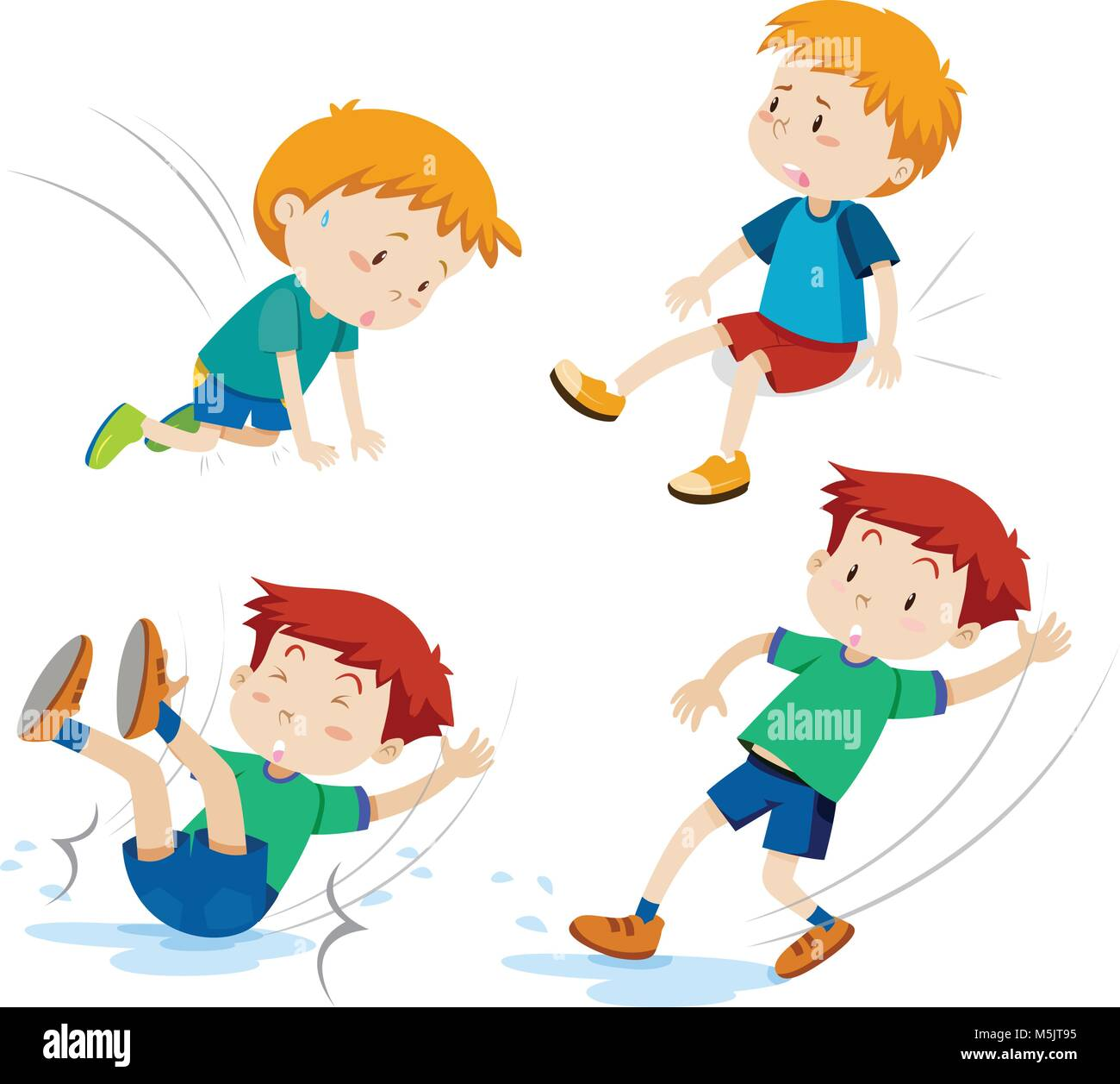 Boys having different types of accidents illustration - Stock Vector