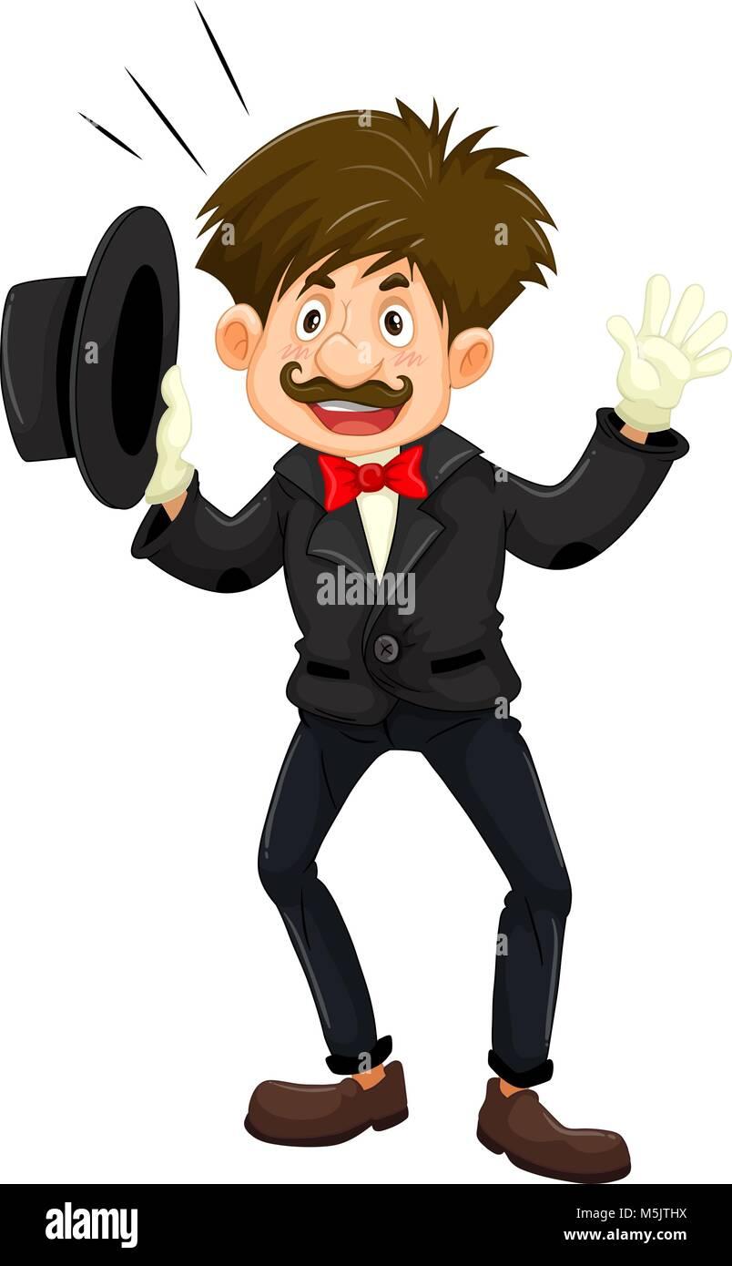 Magician in black tuxedo illustration - Stock Vector