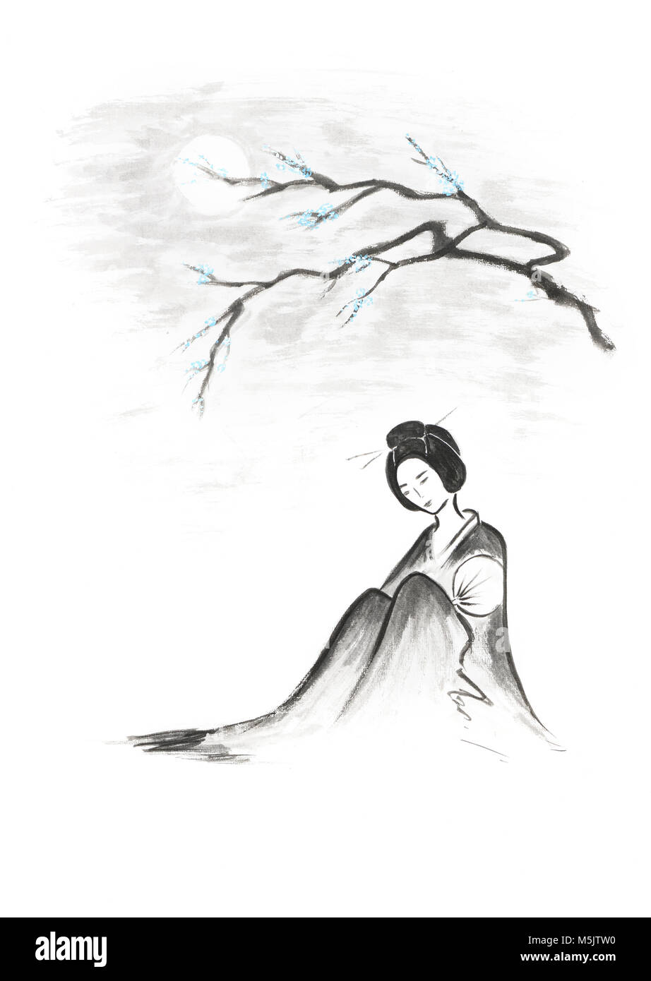 Geisha Painting Stock Photos Images Alamy Moonlit Eyeliner Fin Beautiful Thoughtful Sitting Under Sakura Branch In The Moonlight Artistic Oriental Style Illustration Japanese