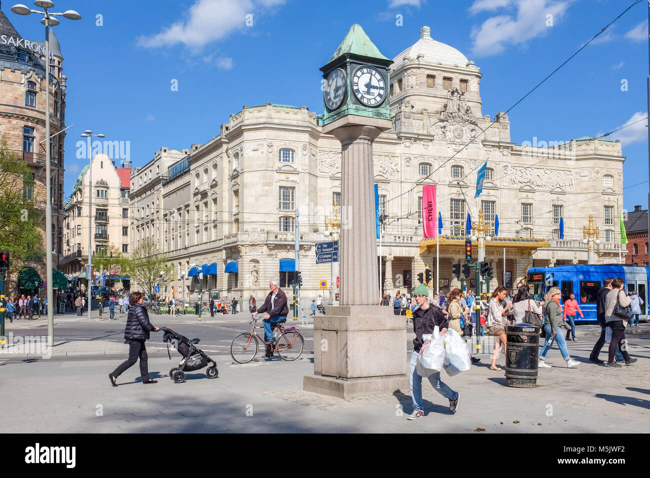 """Dramaten"" the Royal Dramatic theatre at Nybroplan during springtime in Stockhom. - Stock Image"