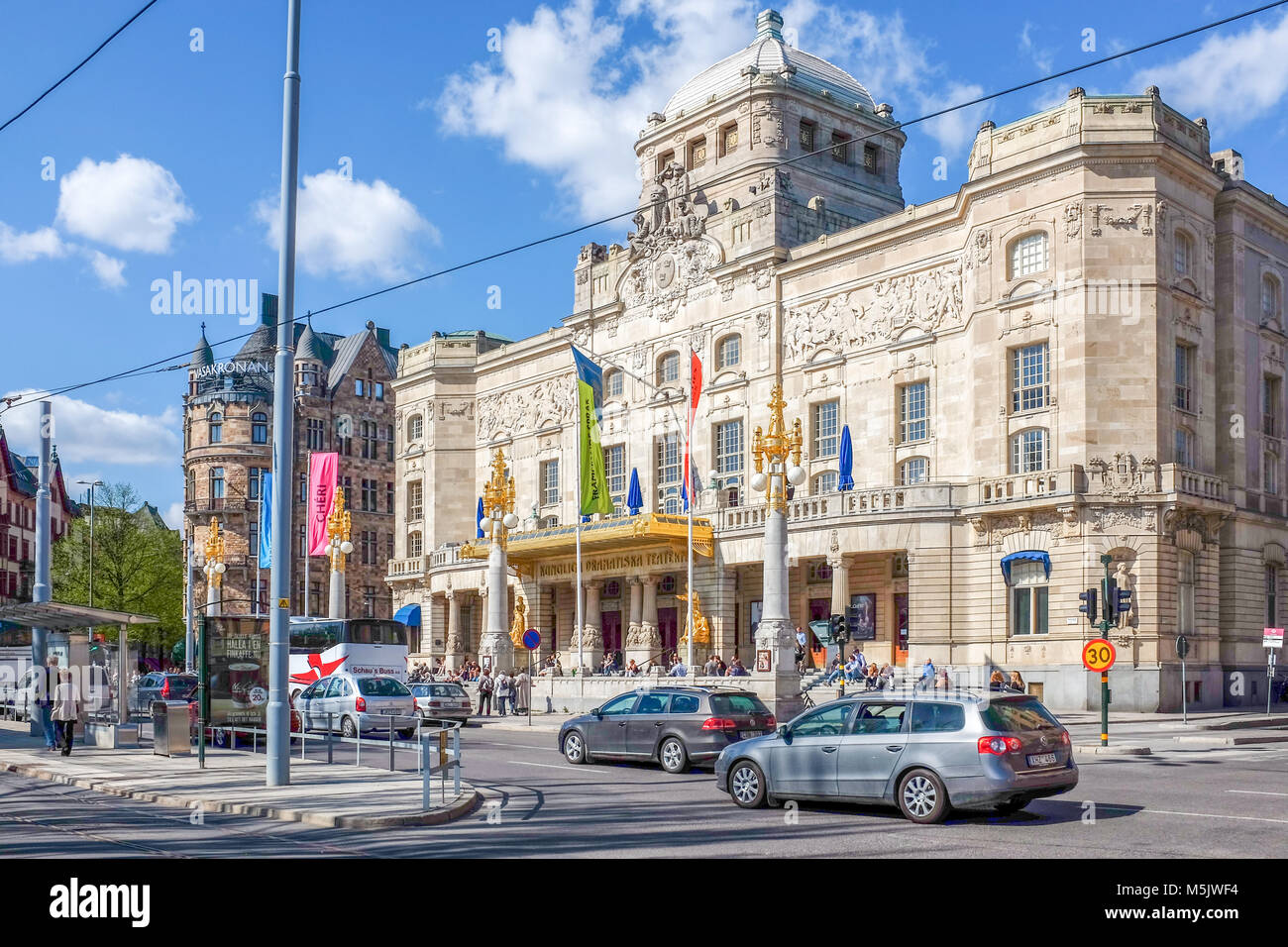 """""""Dramaten"""" the Royal Dramatic theatre at Nybroplan during springtime in Stockhom. Stock Photo"""