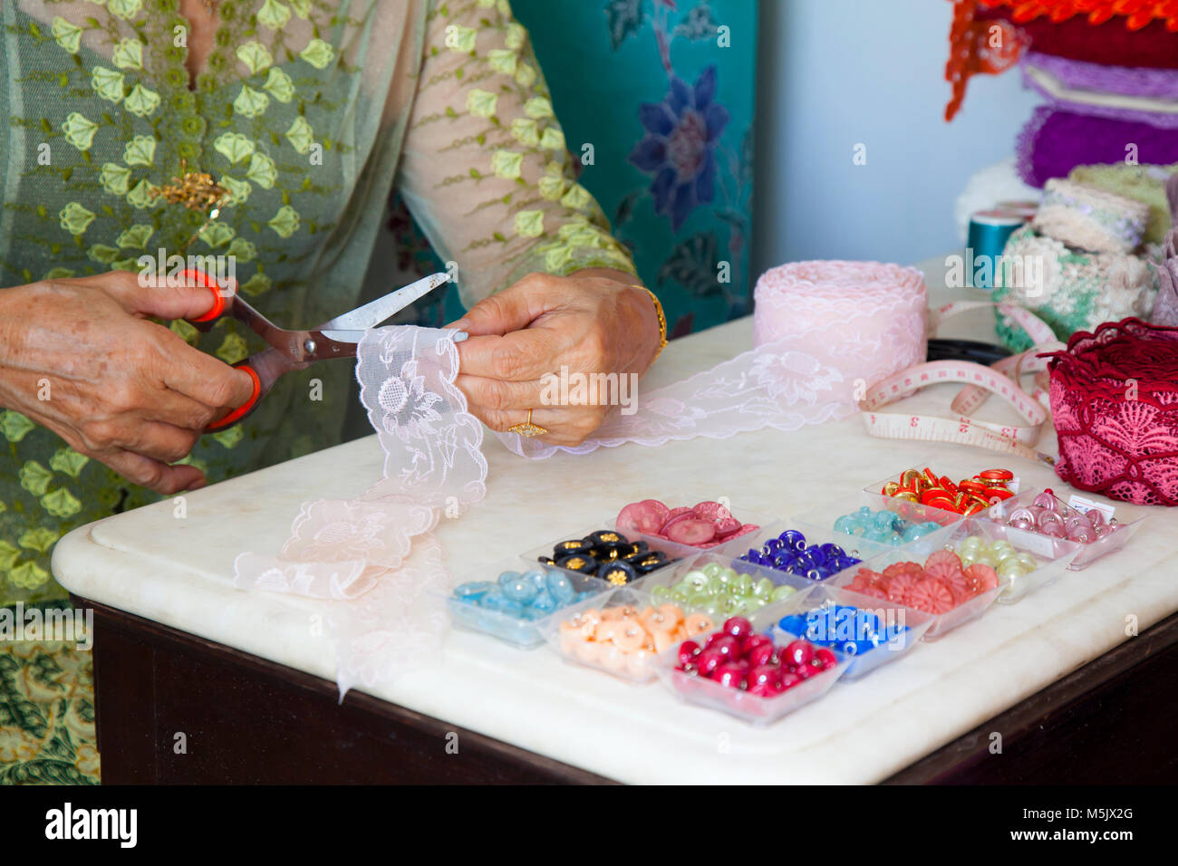 Woman Working Embroidery Design Studio Stock Photos Woman Working