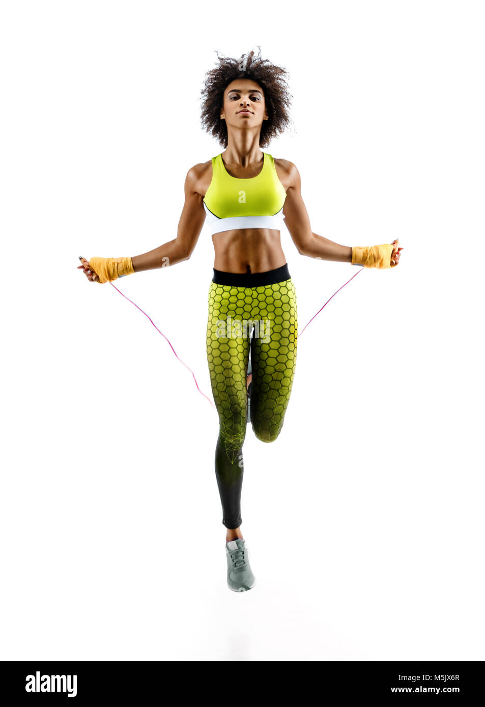 Girl Skipping Rope Stock Photos Images Body Sculpture Skip Young With On White Background Best Cardio Workout Image