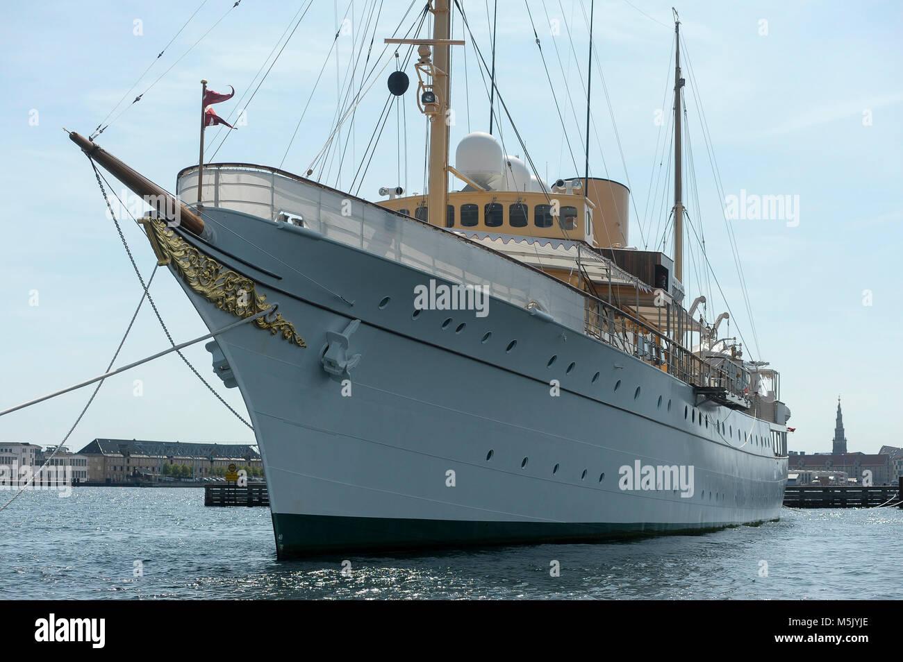 Kongeskibet Dannebrog (Her Danish Majesty's Yacht Dannebrog) built in 1932 in Copenhagen, Denmark, August 6th - Stock Image