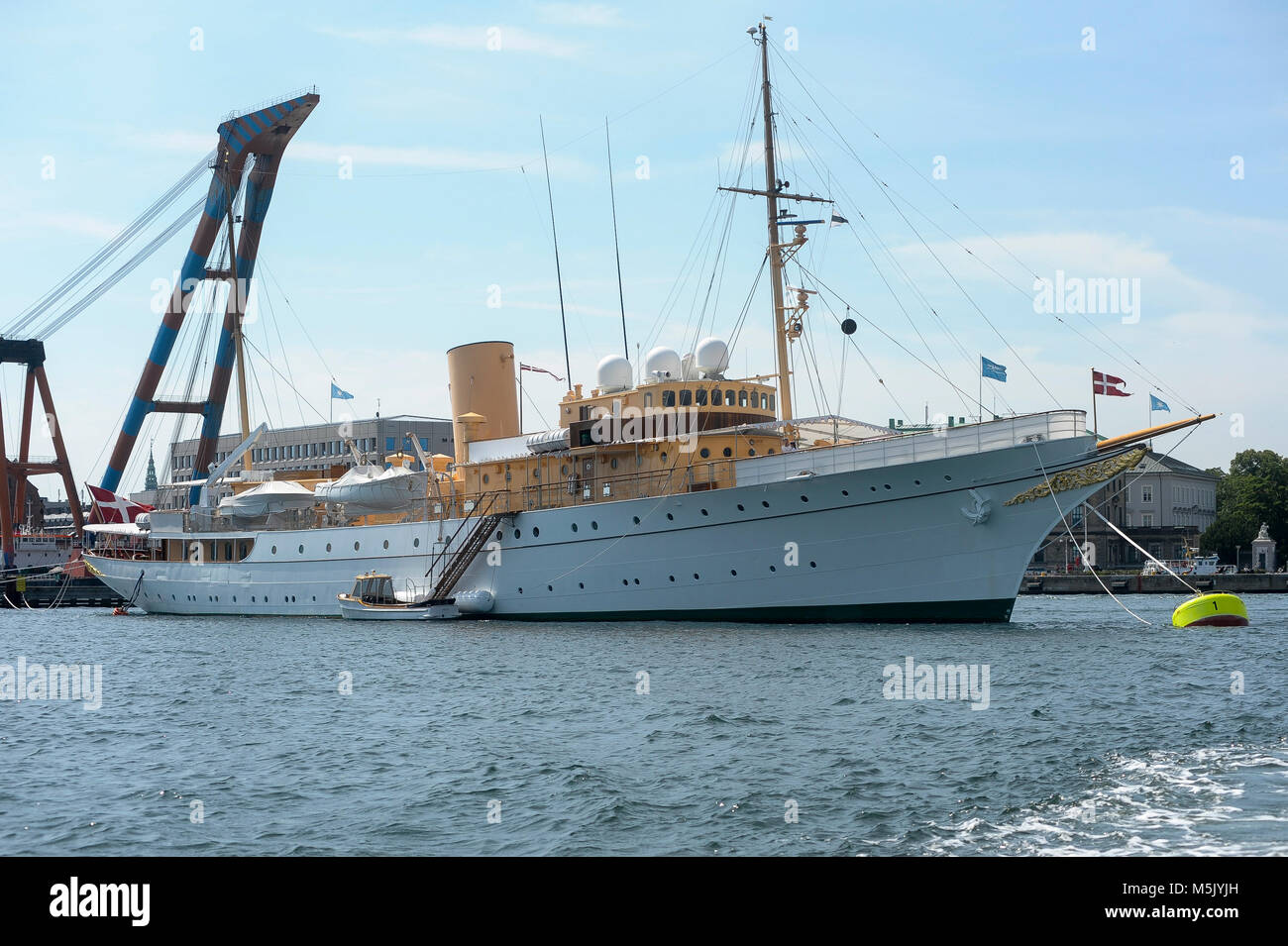 Kongeskibet Dannebrog (Her Danish Majesty's Yacht Dannebrog) built in 1932 in Copenhagen, Denmark, August 6th 2015 Stock Photo