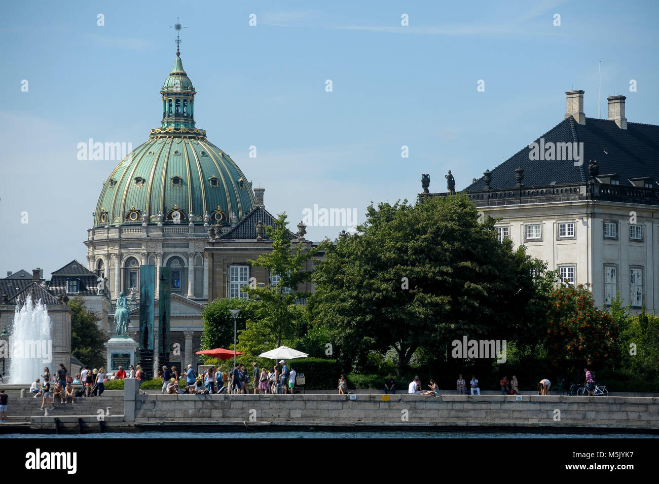 Rococo Frederiks Kirke (Frederik's Church) called also Marmorkirken (The Marble Church) designed by Nicolai - Stock Image