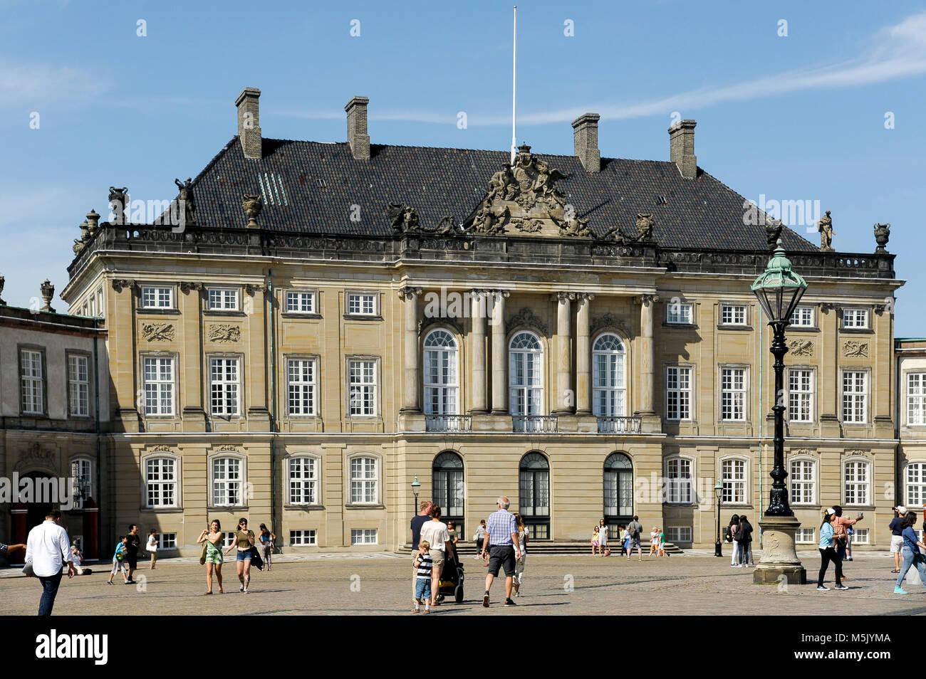 Rococo Christian VIII's Palae or Levetzaus Palae (Christian VIII's Palace or Levetzau's Palace) of Amalienborg Palace, Stock Photo