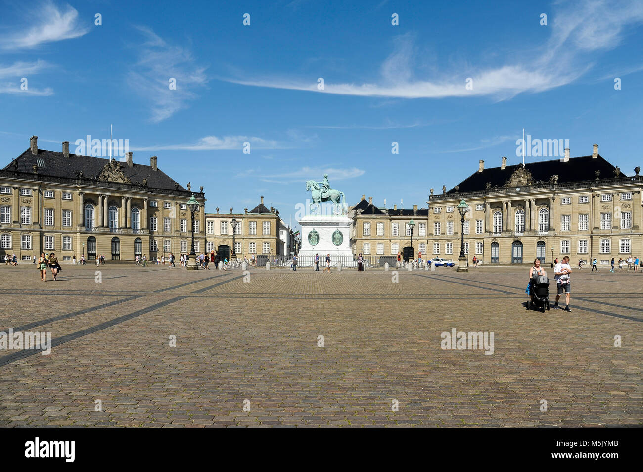 Rococo Christian VIII's Palae or Levetzaus Palae (Christian VIII's Palace or Levetzau's Palace), equestrian statue Stock Photo