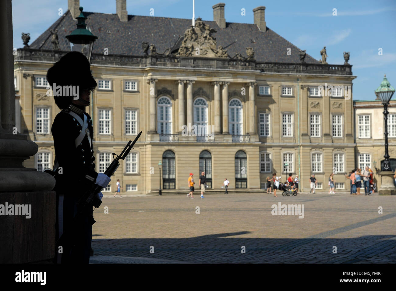Royal Life Guard (Den Kongelige Livgarde) in front of Rococo Christian VIII's Palae or Levetzaus Palae (Christian Stock Photo