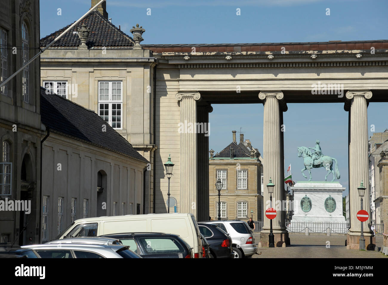 Equestrian statue of King Frederik V and Amalienborg Palace, home of the Crown Prince Frederik and the Crown Princess - Stock Image
