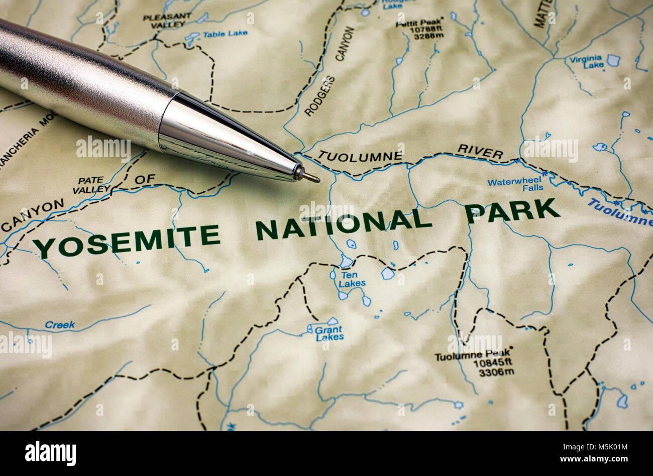 Cartina Yosemite National Park.Map Of Yosemite National Park With Pen Close Up Stock Photo Alamy