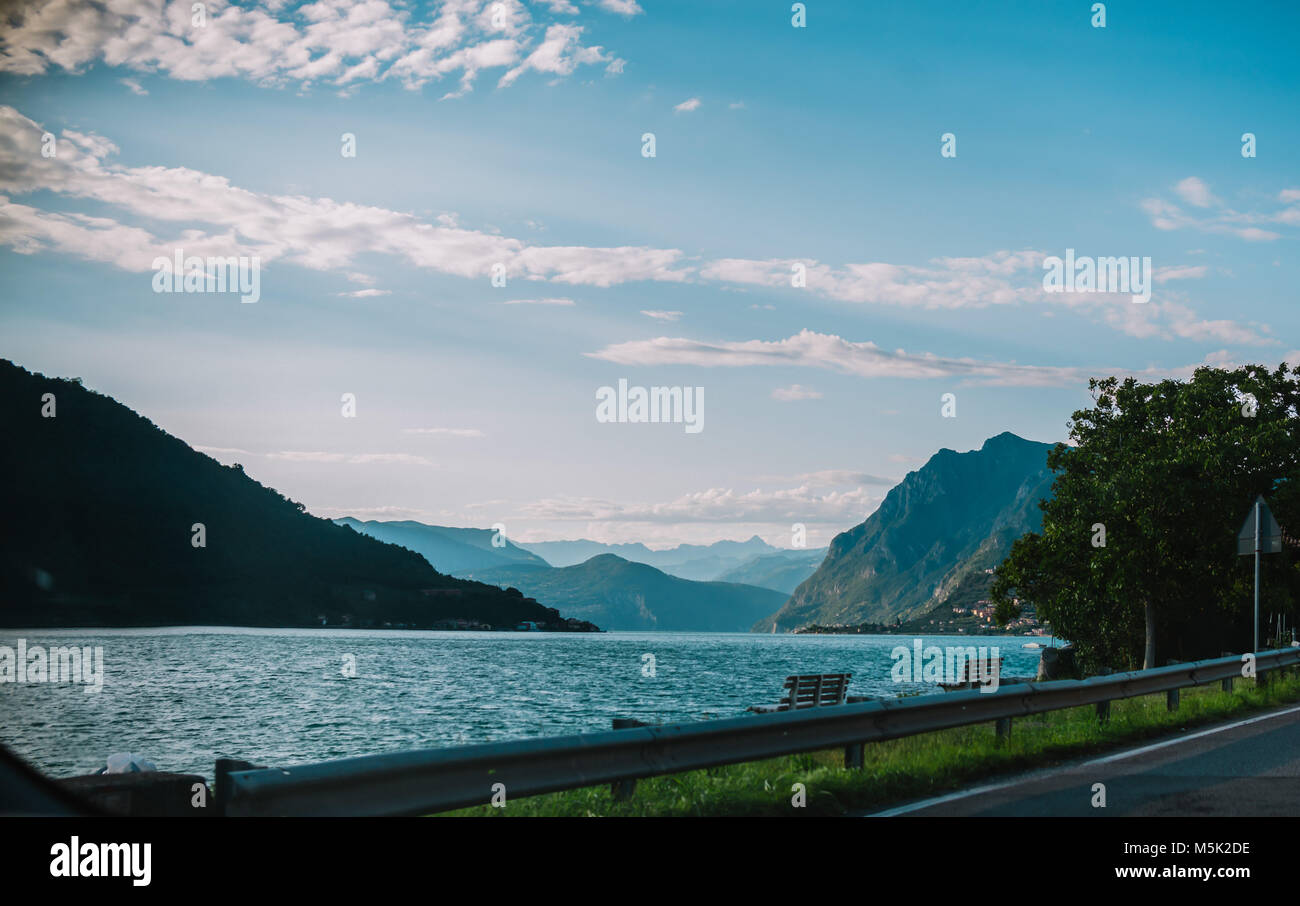 panorama view of Lake Iseo in Lombardy, Italy - Stock Image