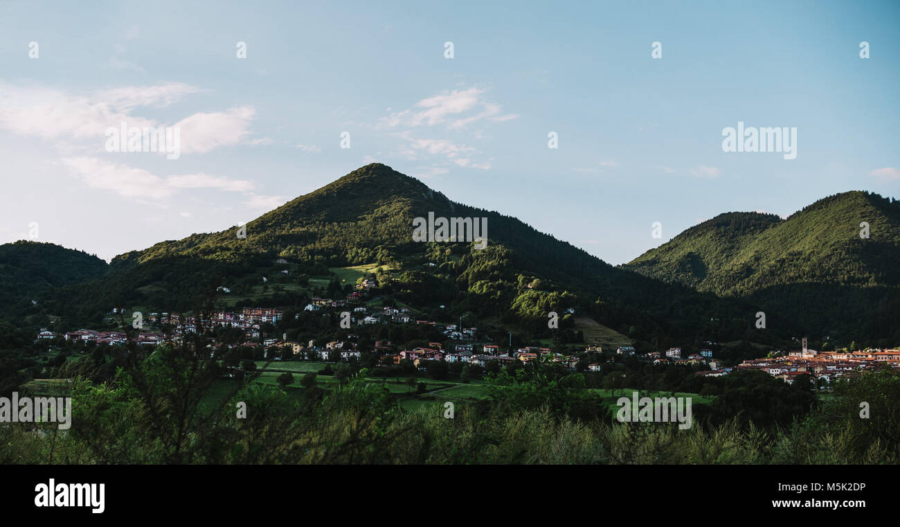 driving a car through Lobardy in Italy, near Lake Iseo - Stock Image