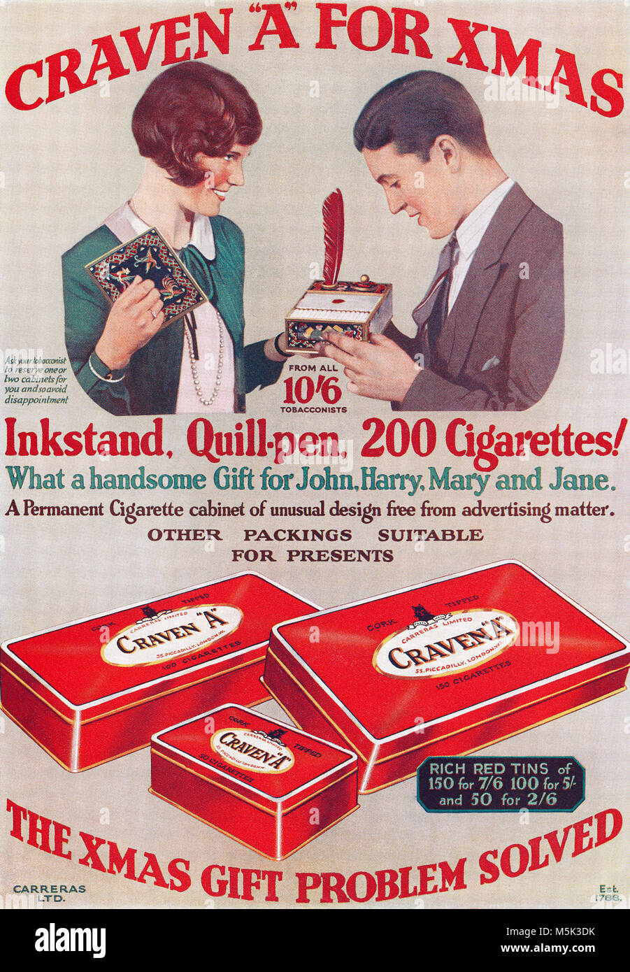 "1928 British Christmas advertisement for Craven ""A"" Cigarettes. Stock Photo"