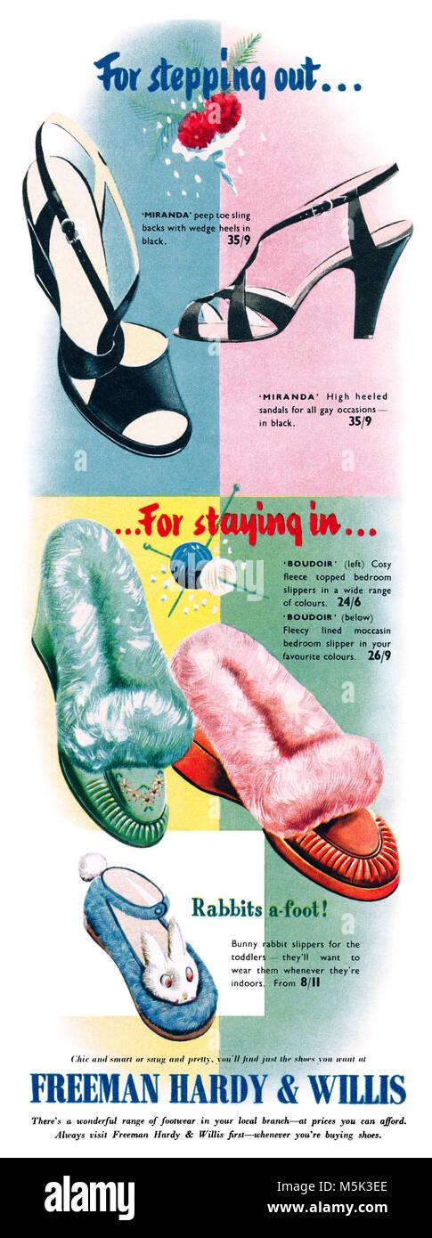 1953 British advertisement for Freeman Hardy & Willis shoe shops. - Stock Image