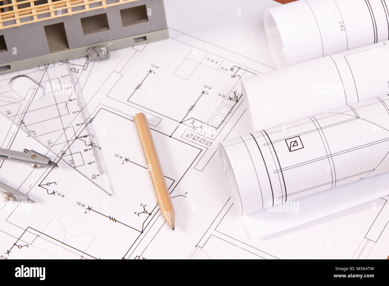 Electrical Diagrams Stock Photos Images Engineering Accessories For Use In Engineer Jobs And House Under Construction Concept Of