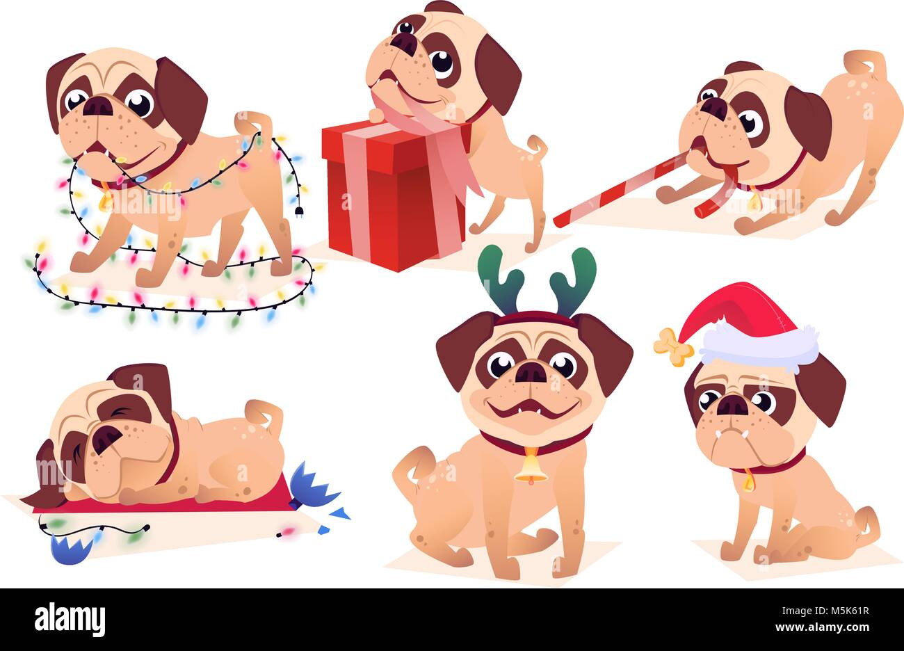 Cartoon Dog Set Vector Collection Of Christmas Puppy Character Stock Vector Image Art Alamy