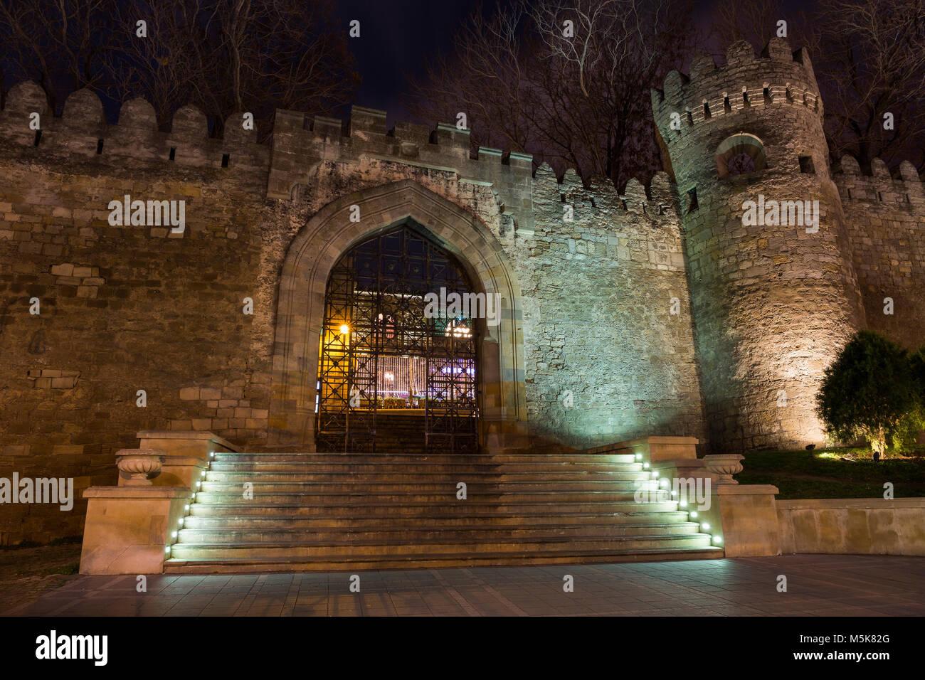 Gate of the old fortress, entrance to Baku old town. Baku, Azerbaijan. - Stock Image