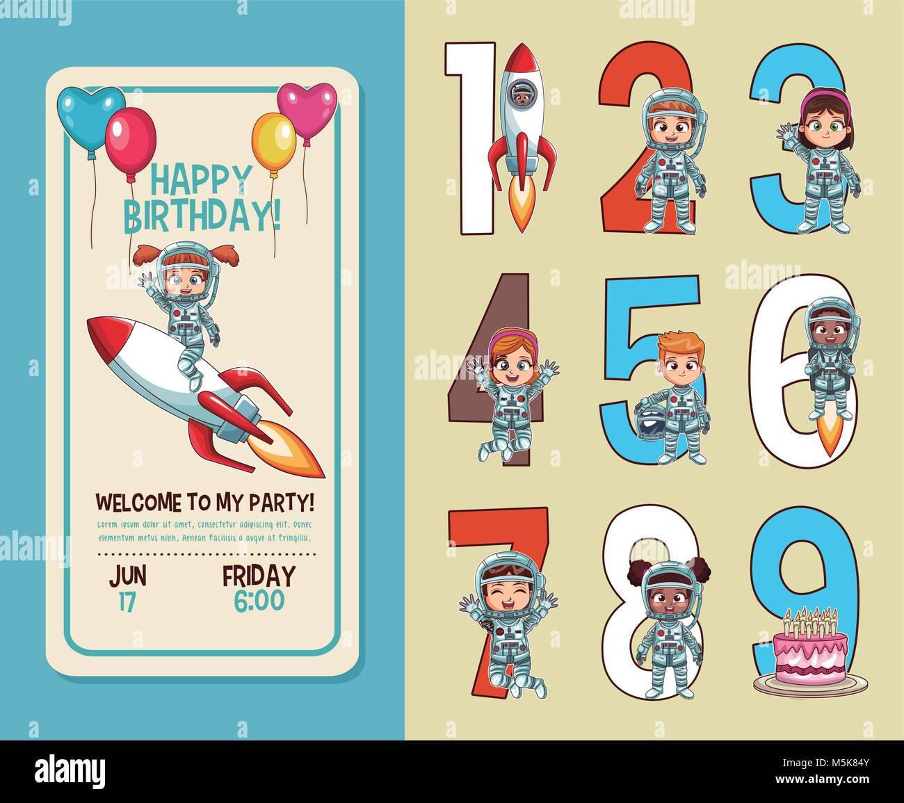 Kids Birthday Party Invitation Card Stock Vector Art