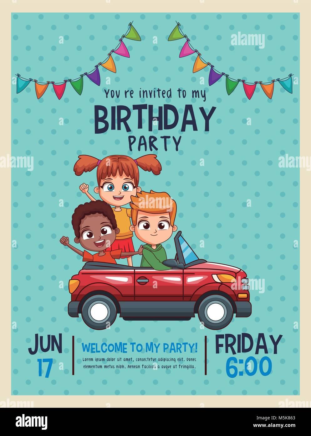 Kids Birthday Invitation Card Stock Vector Art Illustration