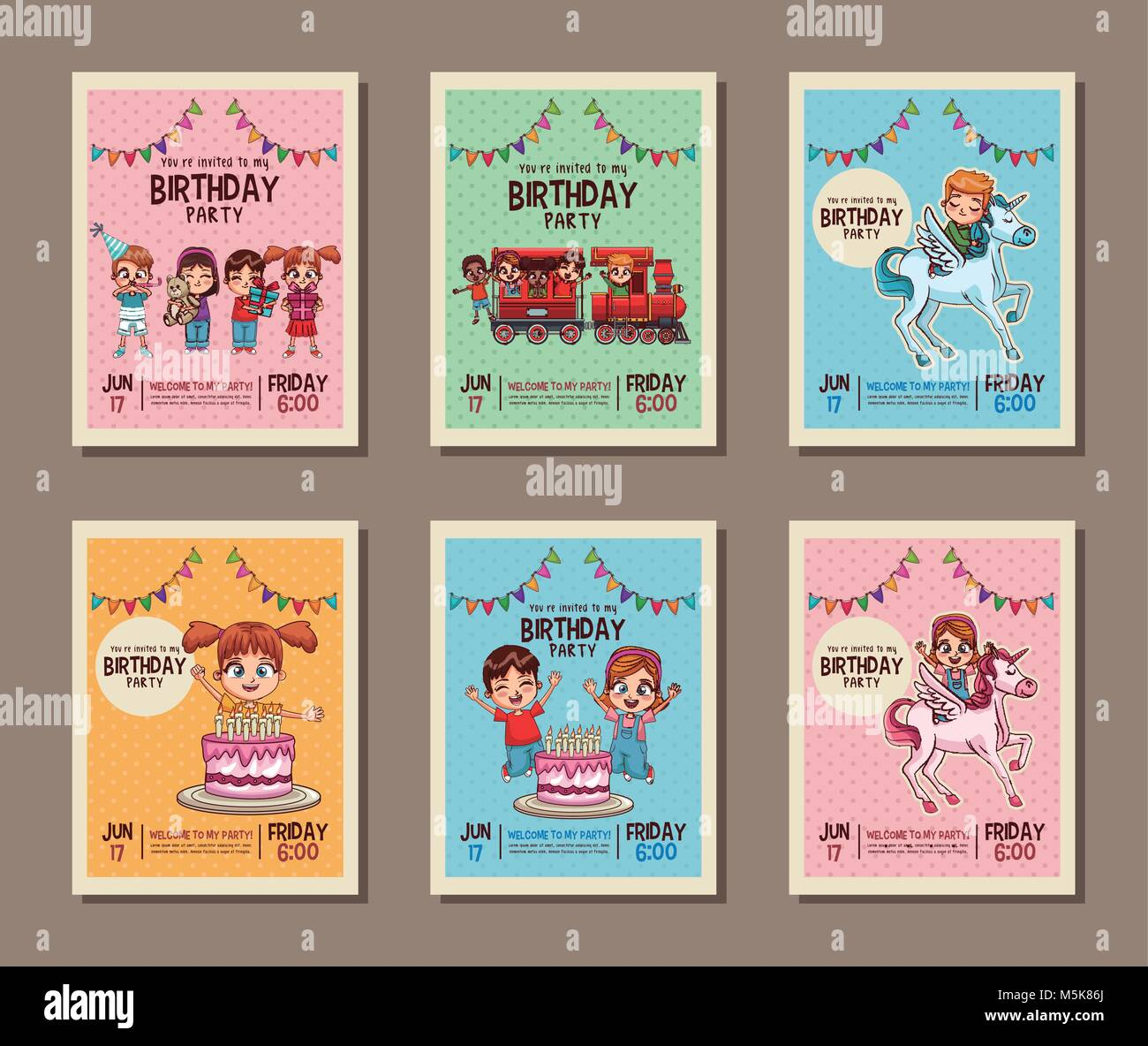 Set On Birthday Kids Party Invitation Card Stock Vector Art