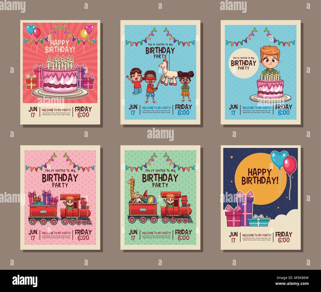 Set on birthday kids party invitation card Stock Vector Art ...