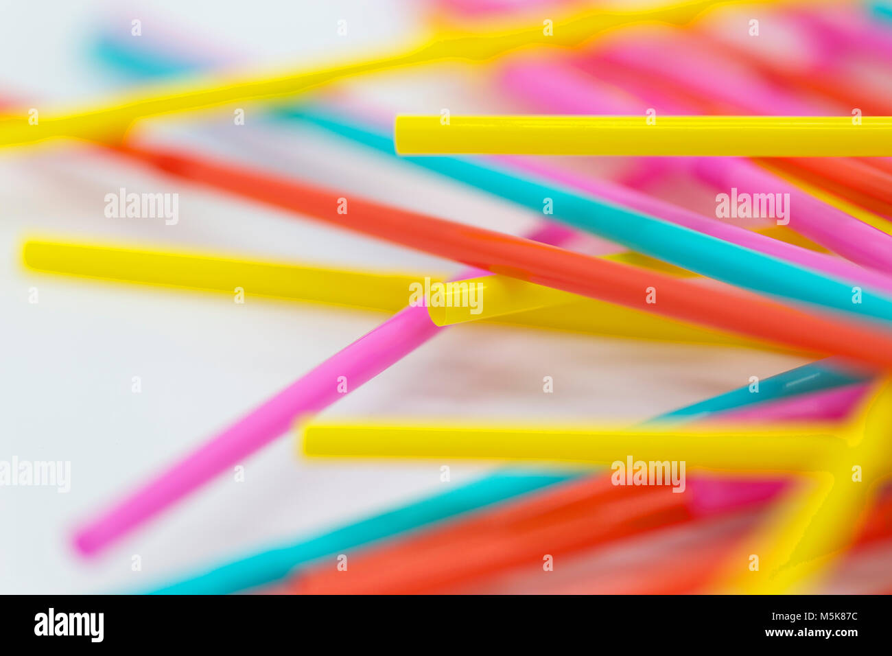 Plastic Drinking Straws, Ocean Polluting - Stock Image