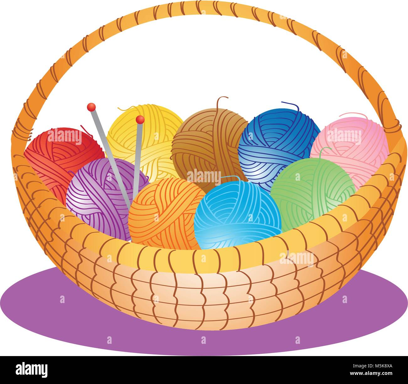 A cartoon illustration of a basket of wool and knitting needles - Stock Vector