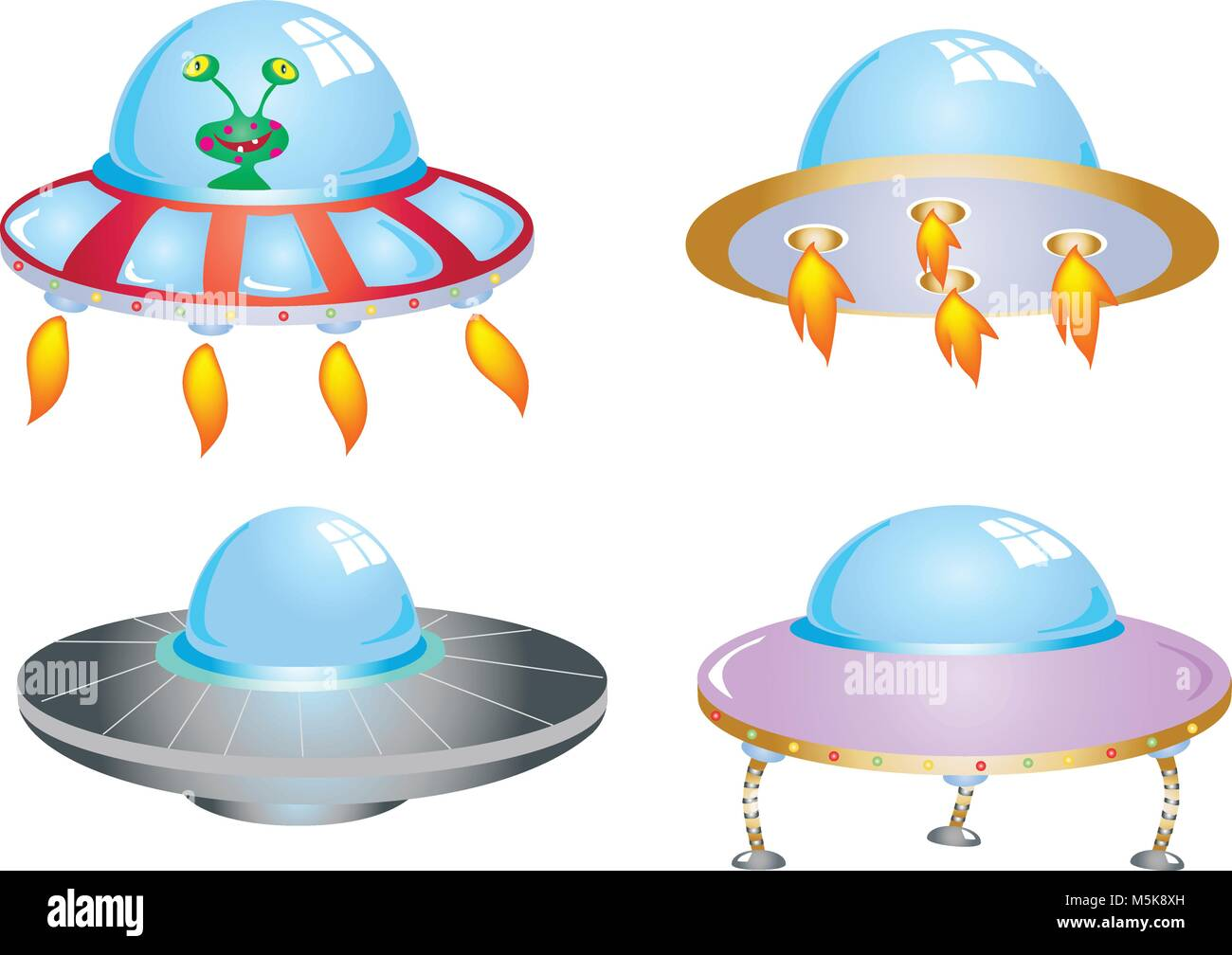 Four cartoon flying saucers with an alien - Stock Image