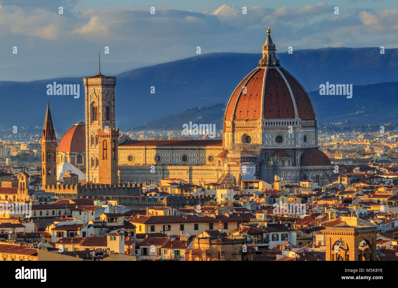Top view of the Cathedral of Florence - Stock Image