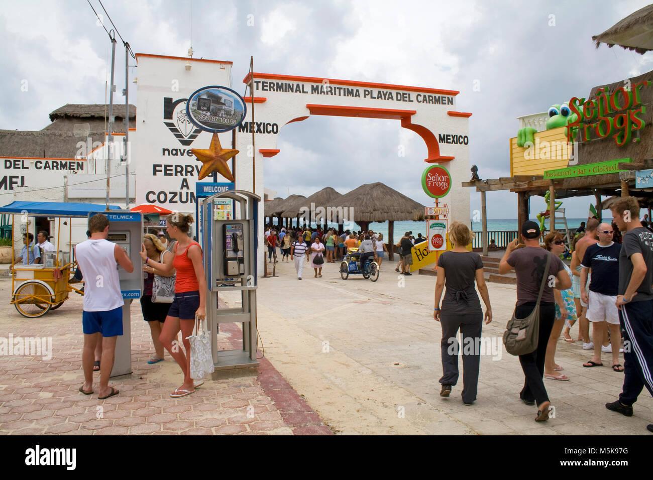 Terminal, Faehre nach Cozumel, Playa del Carmen, Mexiko, Karibik | Terminal, ferry to Cozumel, Playa del Carmen, - Stock Image