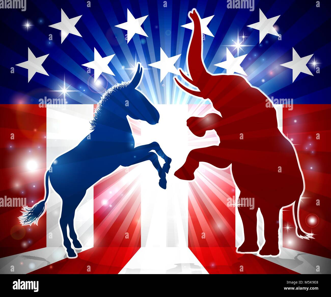 Donkey and Elephant Face Off  - Stock Image