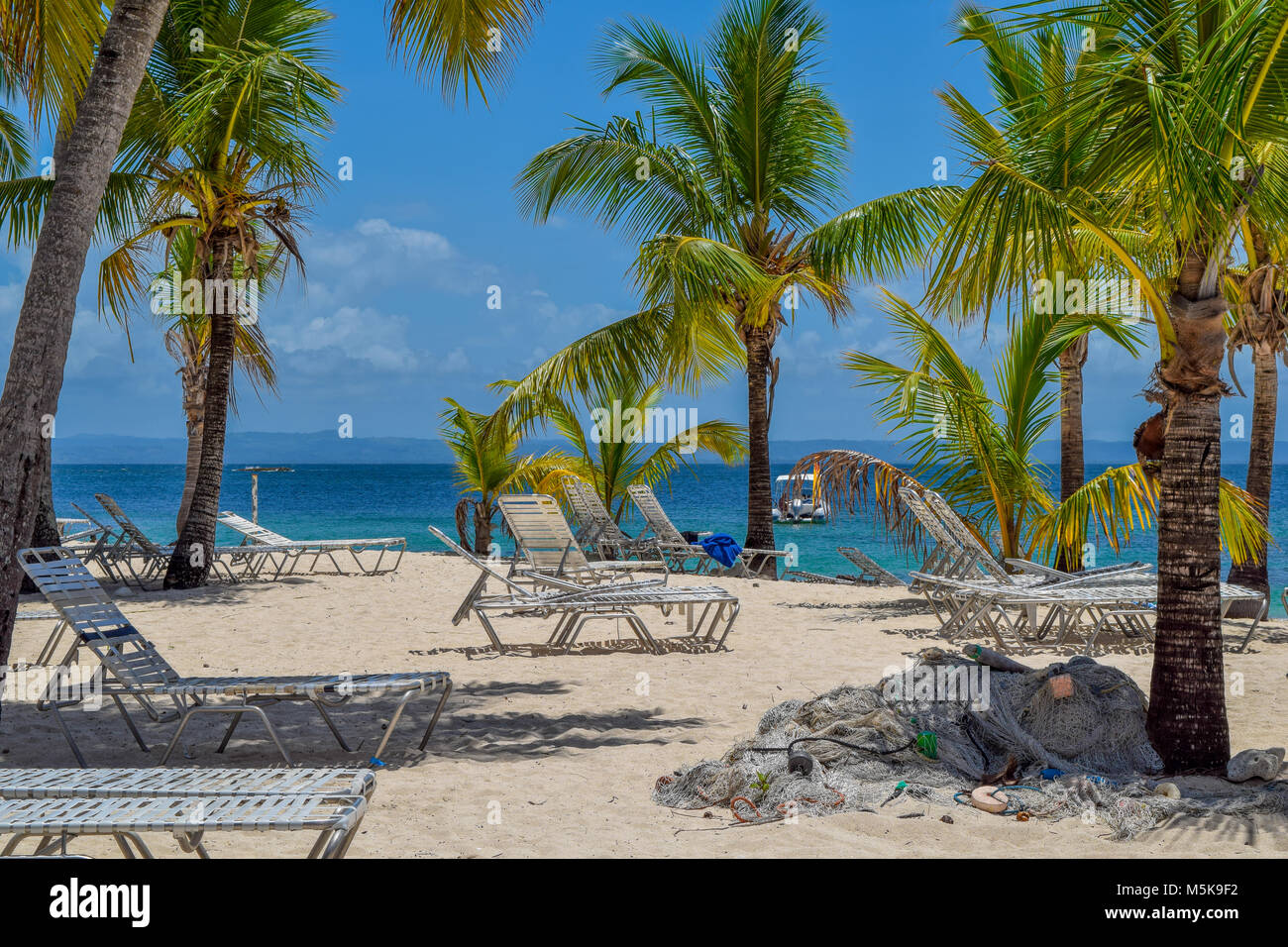 White beach with sunbeds, many palms, blue sky, a fisher net and turquoise ocean in the caribbean sea, Dominican - Stock Image