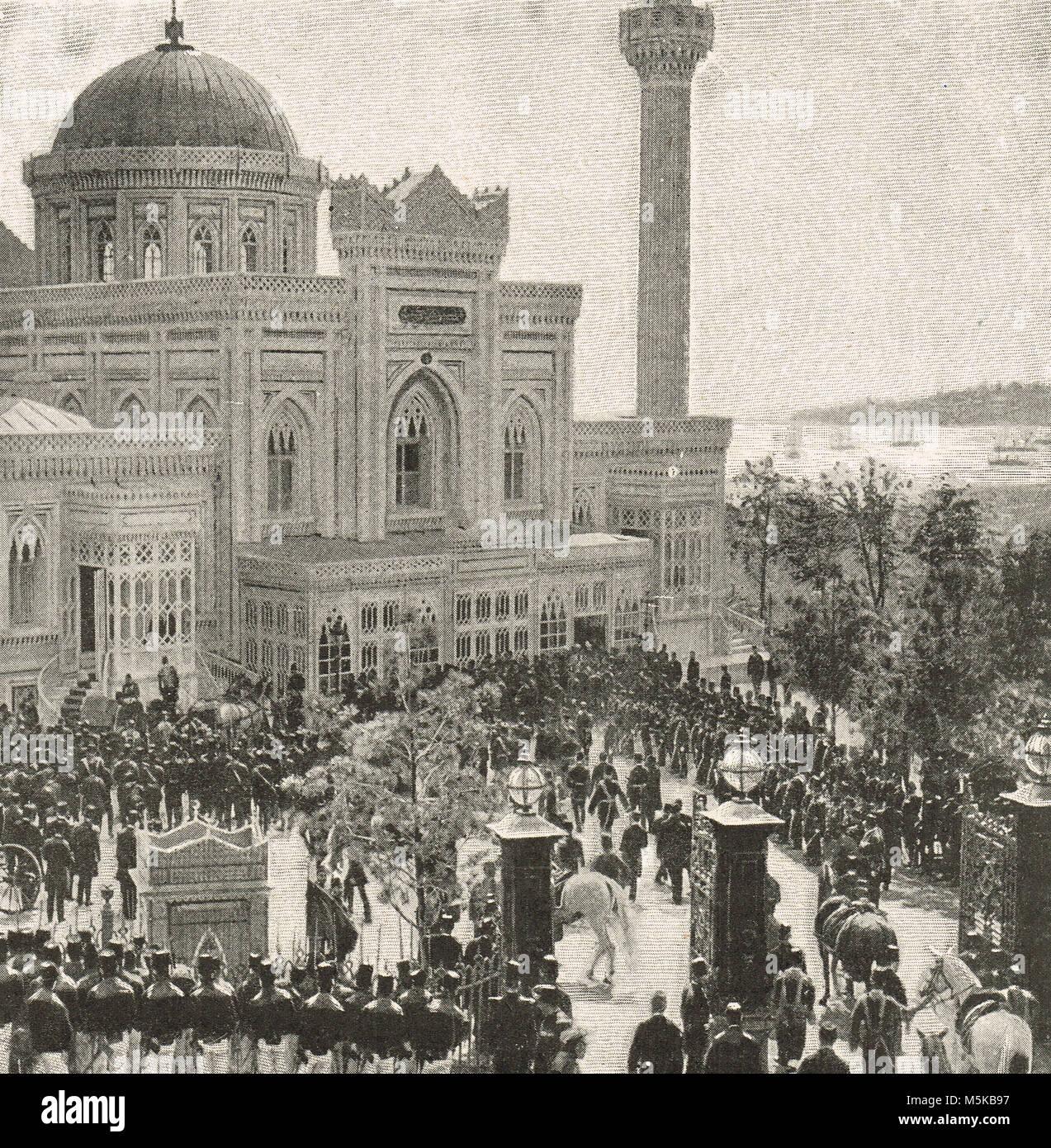The Ceremony of the Selamlik, Sultan Abdul Hamid II, procession to the mosque, Hamidiye Camii, AKA Yıldız Hamidiye - Stock Image