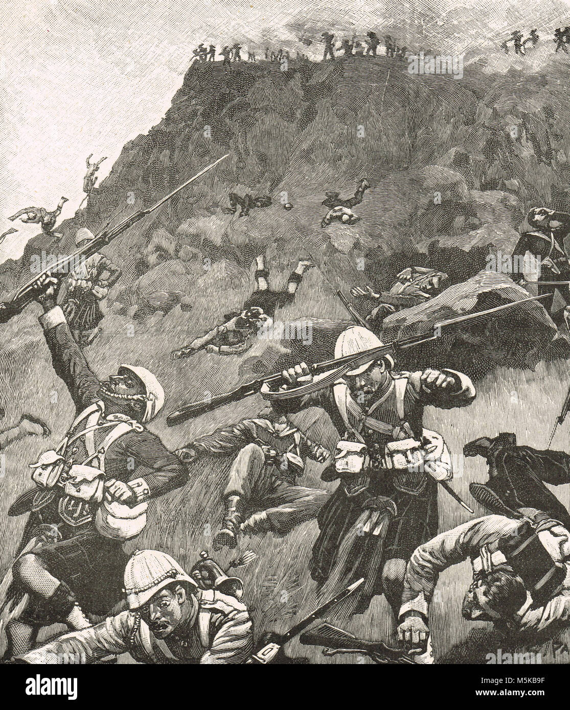 Highlanders in retreat at the Battle of Majuba Hill, 27 February 1881.  The final and decisive battle of the First - Stock Image
