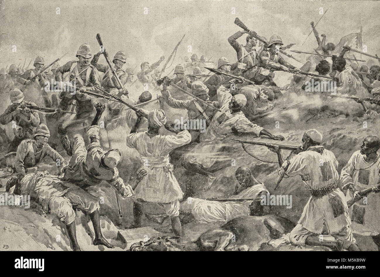 The Final Charge at the Battle of Atbara, 8 April 1898, Second Sudan War - Stock Image