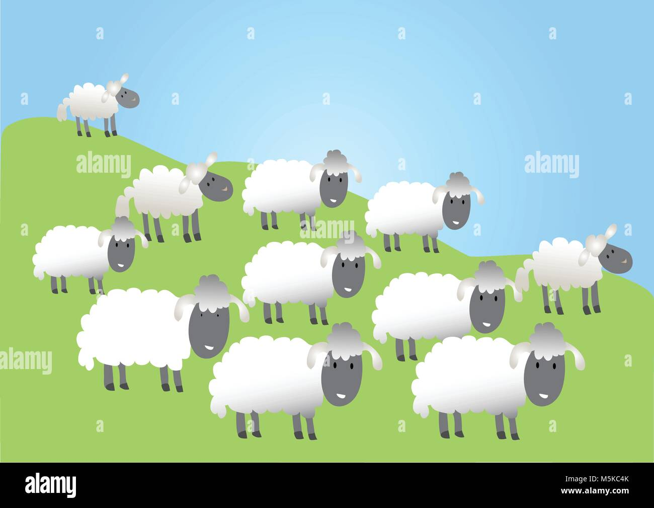 A cartoon flock of very woolly sheep - Stock Vector