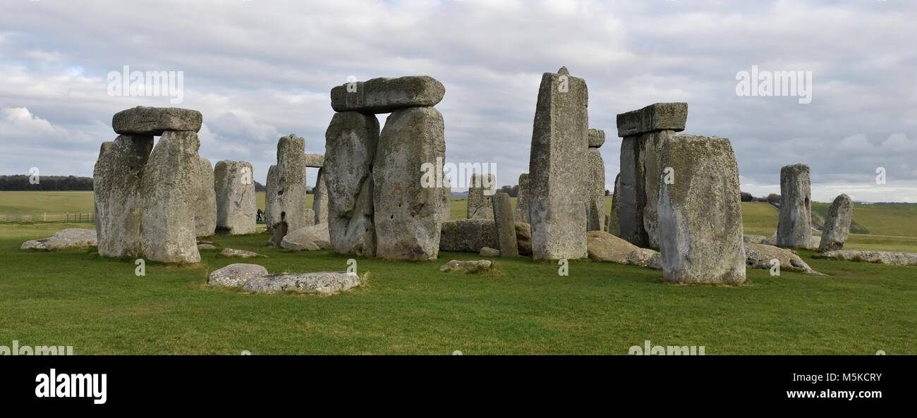 Stonehenge is a prehistoric druid monument in Wiltshire, England from the neolithic bronze age. Stock Photo