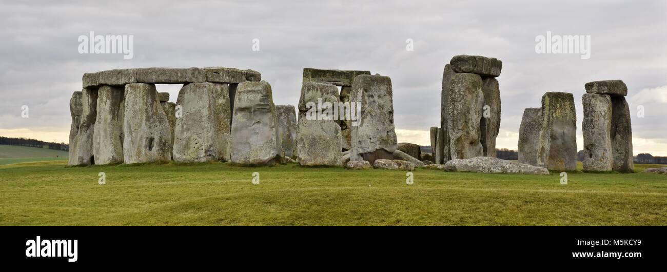 Stonehenge is a prehistoric druid monument in Wiltshire, England from the neolithic bronze age. - Stock Image