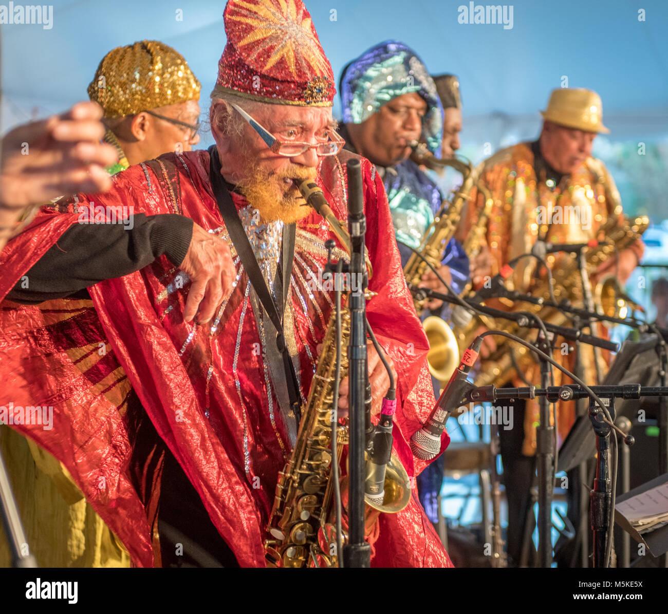 National  Folk Festival in Greensboro NC -  Sun Ra Arkestra free jazz   Marshall Allen  Greensboro, North Carolina. - Stock Image