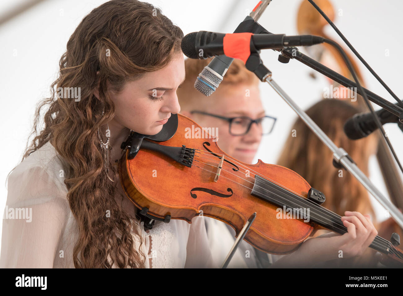 Young female from musical group, Strictly Strings & the Cole
