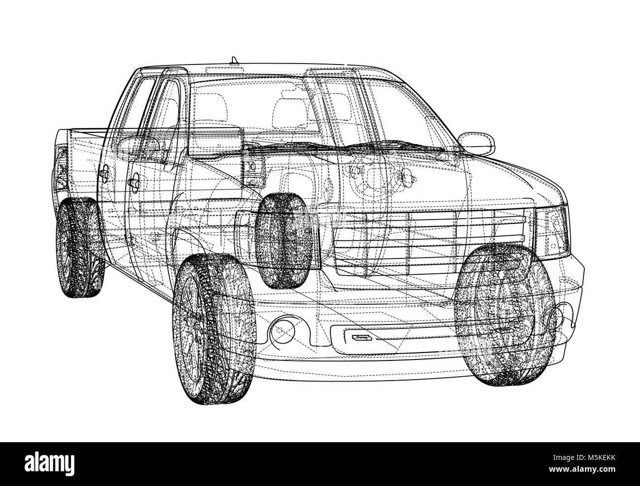 Car SUV drawing outline. Vector rendering Stock Vector Art ...