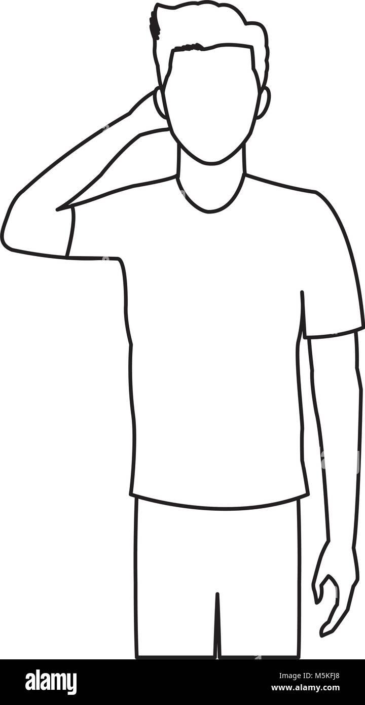 man headache line icon vector - Stock Vector