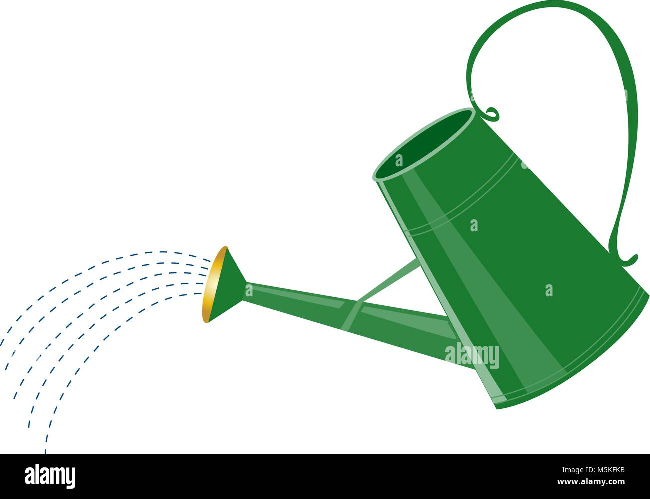 A cartoon green watering can with water sprinkler - Stock Image