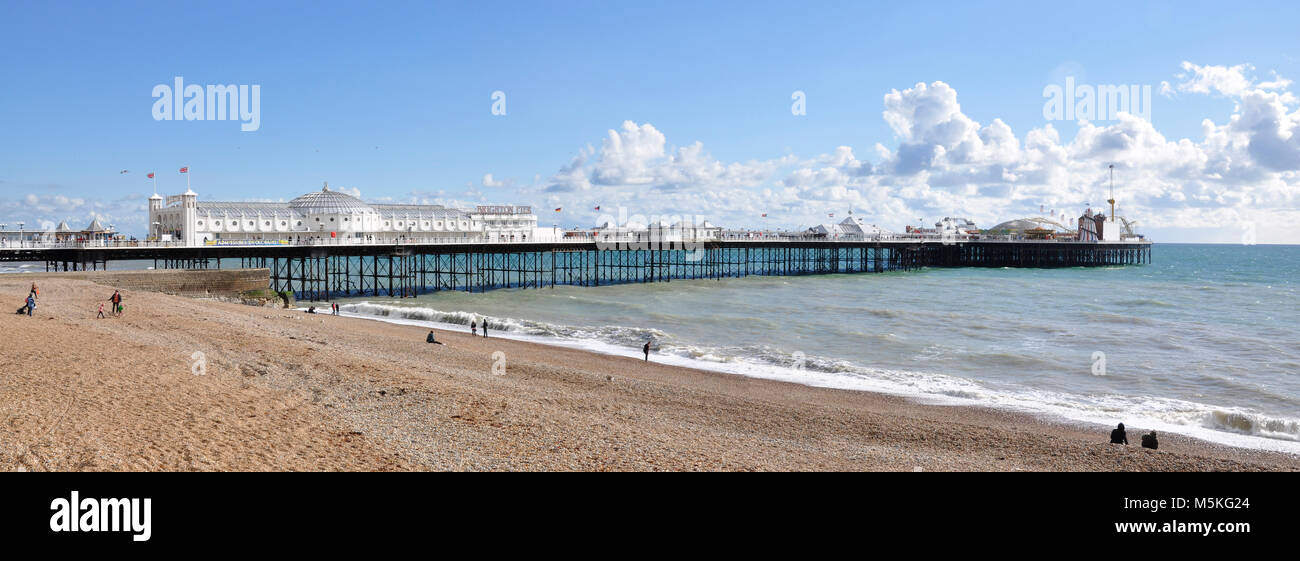 Panorama of Brighton Pier showing the pavilion and amusements - Stock Image