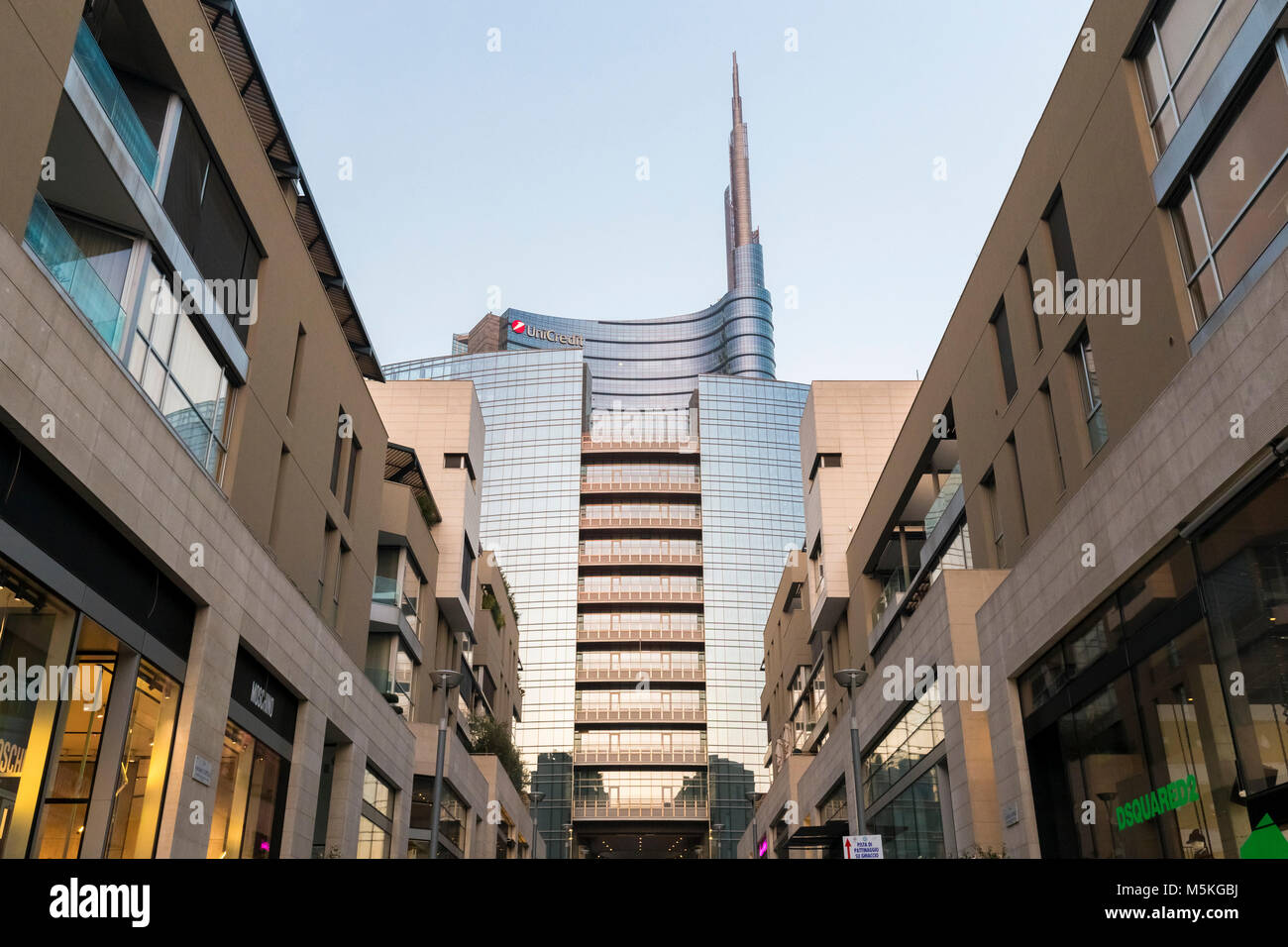 View of the Unicredit Tower spire from the Corso Como avenue. Milan, Lombardy, Italy. Stock Photo