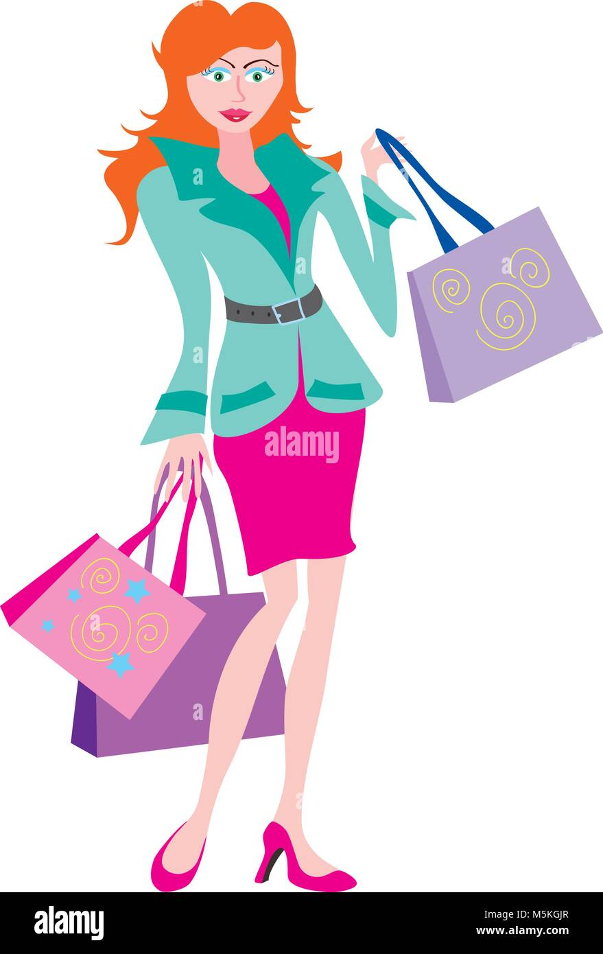 A cartoon of an elegant young woman with shopping bags - Stock Vector