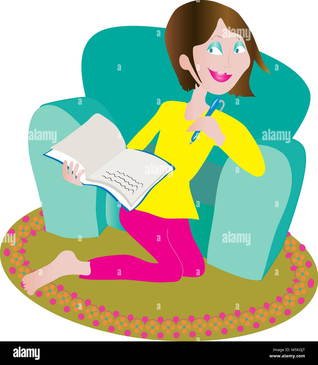 woman writing secrets in diary - Stock Image