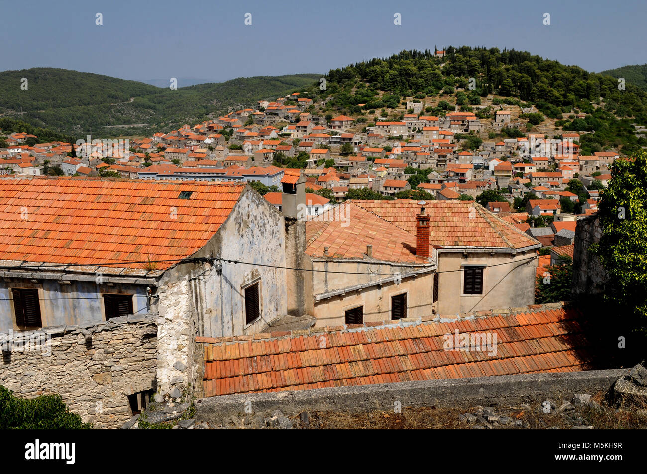 Small Croatian town Blato on island of Korcula, Croatia - Stock Image