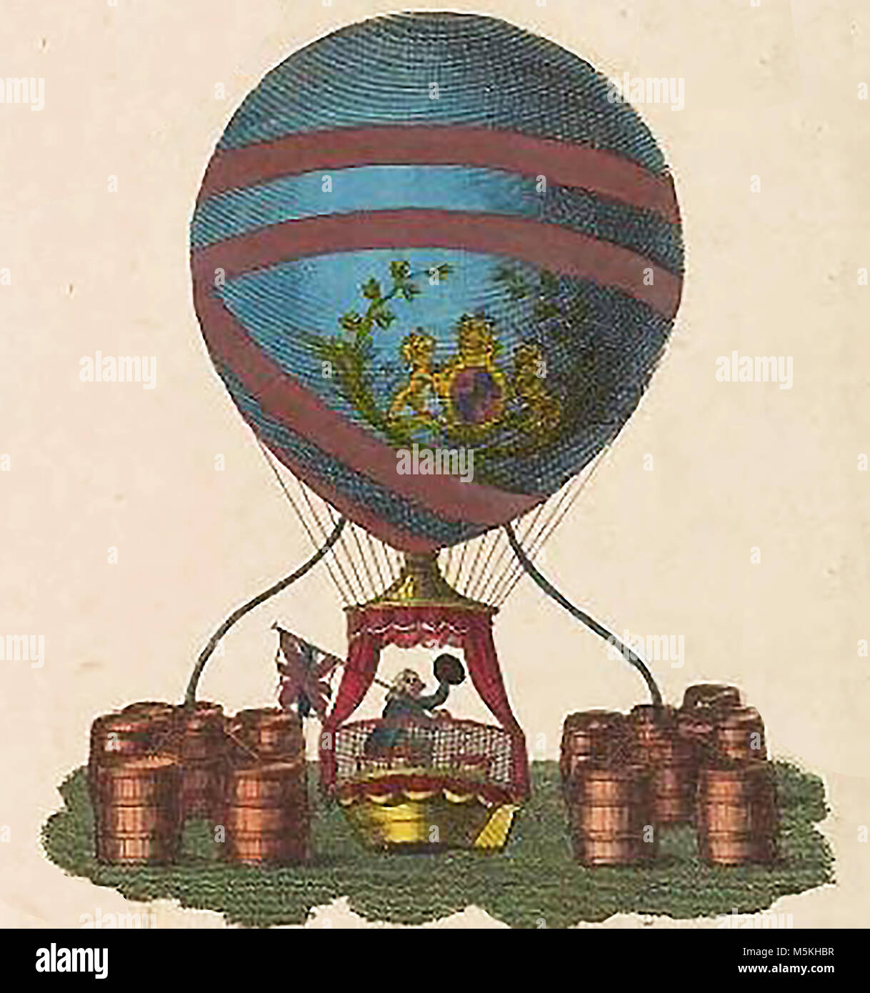 Vincenzo Lunardi's balloon, He was known as the 'The Daredevil Aeronaut' - Stock Image